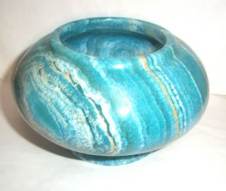 Rare Antique Turned Blue / Turquoise Marble Bowl,  Stunning Marble Stone