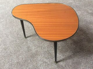 Vintage Retro Mid 20th Century Kidney Shaped Side Table With Dansette Legs Vgc