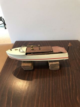 Vintage Toy Wooden Clockwork Wind Up Boat Mengel Chris Craft Style Pond