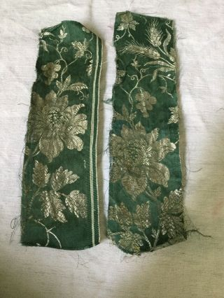18 Th Century Fragments.  Silk And Metallic Thread Detail