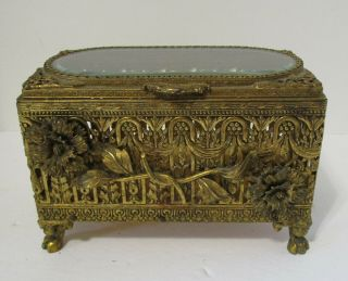 Antique Decorated Victorian Metal Jewelry Box Marigolds