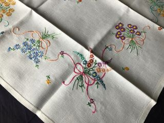 Cute Vintage Floral Hand Embroidered Small Square Cream Irish Linen Tablecloth