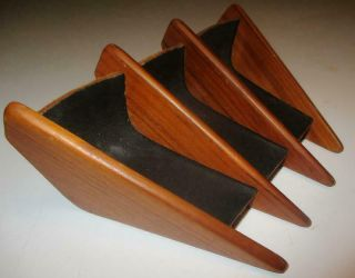 Vintage Mid Century Modern Scandinavian Teak And Leather Pipe Holder