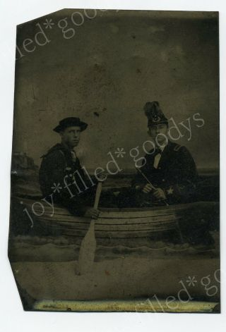 Civil War Sailor And Fife Playing Officer In A Boat Union Navy Tintype Photo