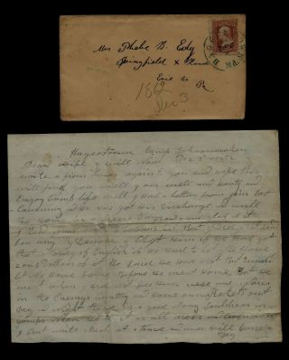 14th Pennsylvania Cavalry Civil War Letter From Camp Schoonmaker,  Hagerstown,  Md