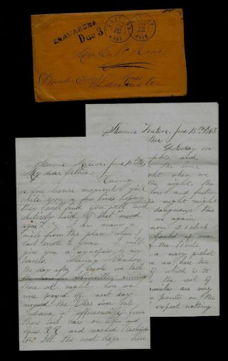 36th Massachusetts Infantry Civil War Letter - Cannon Fire At Vicksburg,  Miss