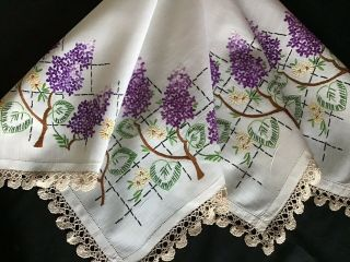 Pretty Vintage Hand Embroidered Tablecloth Lilac Blossoms/lace Trim