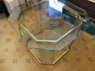 Vintage 70s / 80s Italian Brass Bound Heavy Glass Coffee Table With Glass Top