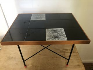 1950s Tile Top Table With Folding Removable Base