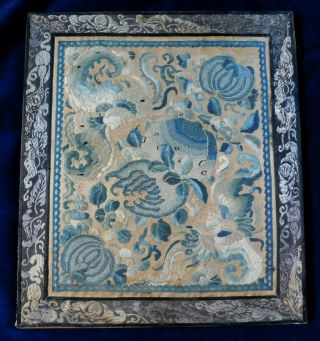 Antique Chinese Embroidered Silk Panel,  Forbidden Stitch Flowers / Insects