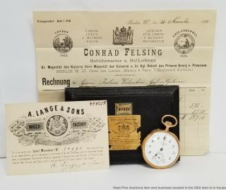 Heavy 18k Gold German A Lange 1st Quality Pocket Watch W Box Papers Receipt