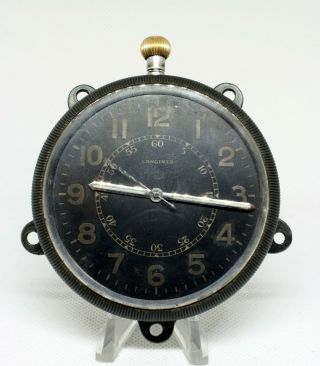 Rare Wwii Longines Military Aircraft Cockpit Clock Watch Black Dial Cal.  19.  71n
