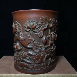 Old Boxwood Handwork Carve Blooming Lootus Collectable Usable Ancient Brush Pot