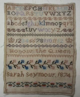 Interesting Antique Needlework Sampler By Sarah Seymour Dated 1874