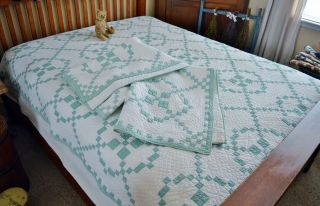 Antique Matching Pair Hand Stitched Burgoyne Surrounded Quilts
