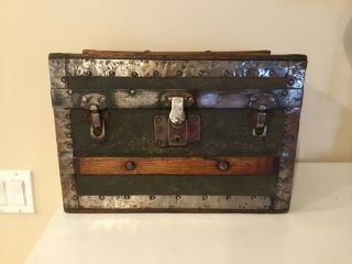 """Small Vtg Antique Steamer Trunk Wood 1890 - 1920 W 15"""" D 8 1/2 """" H 10 1/4 """" Doll ?"""