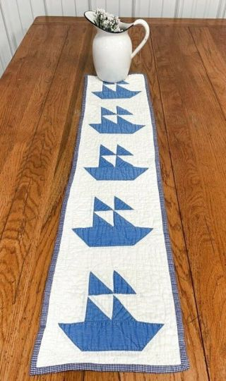 Beach House C 30s Blue Sailboat Quilt Table Runner 39 X 9 Vintage