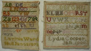 Small Late 19th Century Sampler By Lavinia Ward 1872 Plus Lydia Cooper - 1900