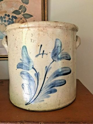 Antique Stoneware 4 Gallon Crock J Fisher Lyons York Cobalt Tulips