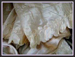 Antique Victorian French Hdmd Silk Scallop Cream Taffeta Trim Only
