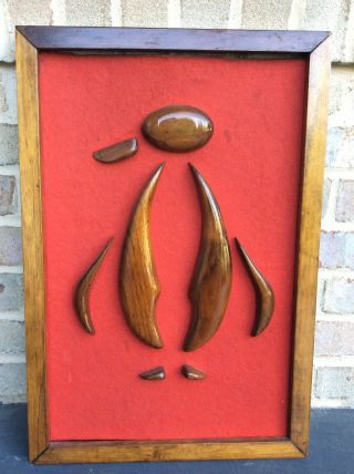 Mid Century Modern Teak Walnut Penguin Witco Style Wall Art
