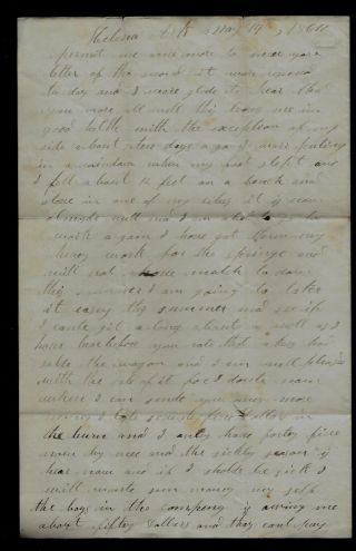 35th Missouri (union) Infantry Civil War Letter From Arkansas (died 6 Mo Later)
