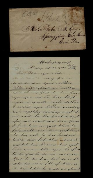 64th York Infantry Civil War Letter From Camp At Harper