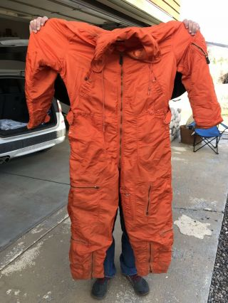 Vintage Orange Flight Suit 1960 Xl Long Olive Mill Wool Blend So Cool Usa