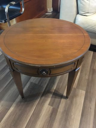 "Vintage 1960s Mersman 8715 Mid - Century Modern 26 "" Round Drum Table: Solid Wood"