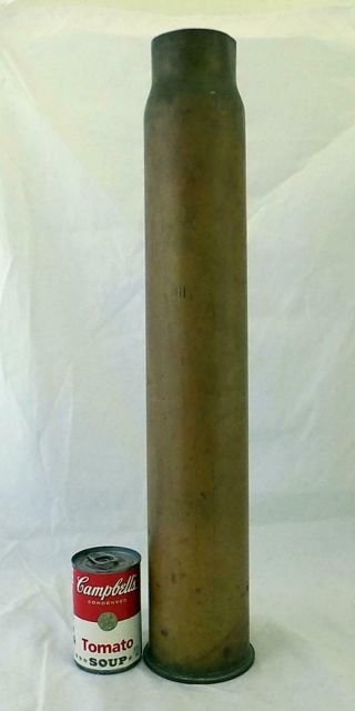 """Vintage 1945 Ww2 Military Us Navy 3 """" 50 Cal.  Brass Shell Case Casing Mk 7"""