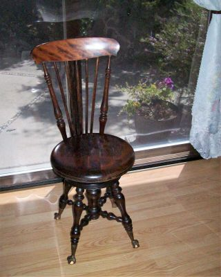 Antique Walnut Piano Stool Adjustable Seat Claw Foot With Glass Ball -