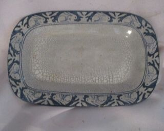 Early Antique Dedham Pottery Arts & Crafts Celery/bacon Tray By Maude Davenport