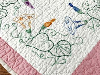 Pink Cottage C 30s Morning Glory Vintage Table Quilt Runner 40 X 19