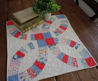 Only One Antique C1930 Red Blue Wedding Ring Table Doll Quilt 19x18