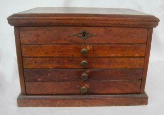 Vintage Wood Jewelry Machinist Tool Box 4 Drawers Lock Dove Tailed 12x9.  5x8.  5