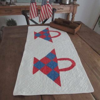 Antique Red White And Blue Basket Table Runner Or Doll Quilt 31x15 ""