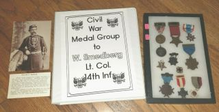 Outstanding Gettysburg Veteran Medal Grouping Engraved W/ Photo & Research Read