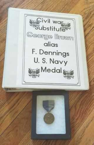 Very Rare Named Civil War Navy Service Medal With Impressive Research Binder