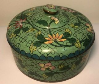 Chinese Antique Cloisonné Enamel Circular Lidded Box