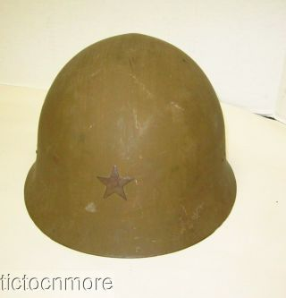 Japan Wwii Japanese Type 91 Combat Helmet W/ Liner,  Clothe Chinstraps