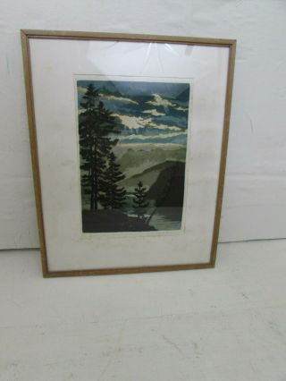 Antique Japanese Woodblock Print With Watercolour Wash,  Signed In Pencil