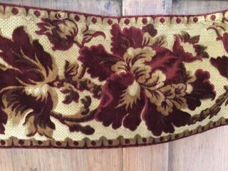 """Antique French Cut Velvet Long Length - Red And Gold - Over 2 Yds 7.  5"""" Wide"""