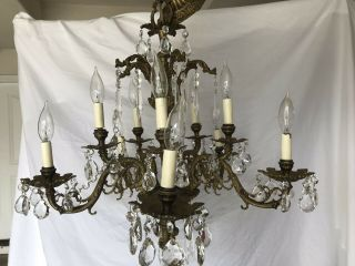Antiques Vintage Bronze Chandelier Crystal 5 Arm 10 Light 24 X24 Made In Spain