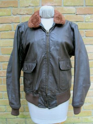 Vintage Vietnam Era ? Red Mouton Collar Us Navy G - 1 Bomber Leather Jacket; Good