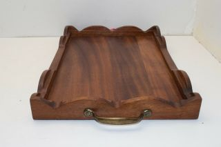 Vtg Mid Century Modern Teak Wood Rectangular Serving Tray Bed Breakfast Wooden