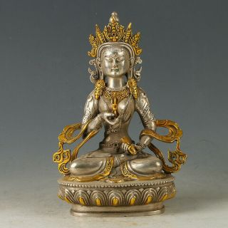 Chinese Antique Silver Copper Gilt Carved Figure Of Buddha Statue Gl680