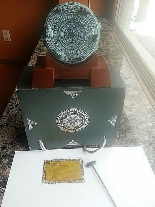 Vtg Guangxi Bronze Drum With Wooden Base & Striker And Box Green Patina