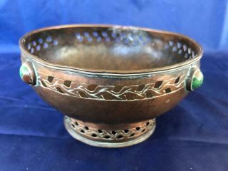 Good Antique Arts And Crafts Hammered Copper Footed Bowl.