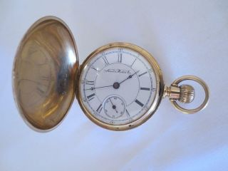 Vintage Solid 14k Gold Hunter Case 18s Aurora Watch Co.  Pocket Watch C.  1888
