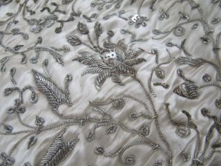 Antique Georgian Or Victorian Silver Thread Embroidery On Silk Panel